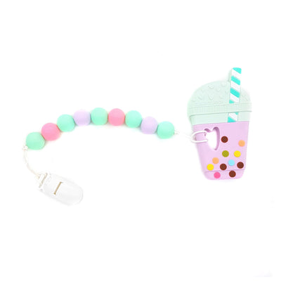 Taro Bubble Tea Baby Teether Set Gem - Lilac Mint - Little Kooma