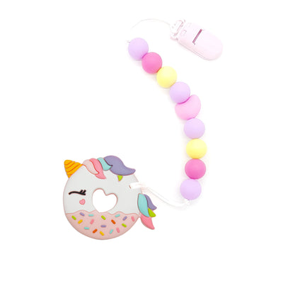 Pink Unicorn Donut Silicone Baby Teether Set - Cotton Candy - Little Kooma