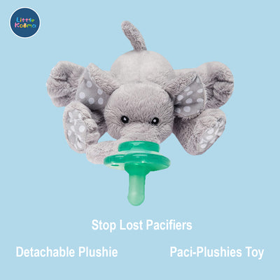 Nookums Paci-Plushies Buddies - Elephant Pacifier Holder - Plush Toy Includes Detachable Pacifier - Little Kooma