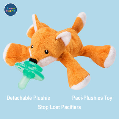 Nookums Paci-Plushies Shakies - Fox Pacifier Holder - Plush Toy Includes Detachable Pacifier - Little Kooma