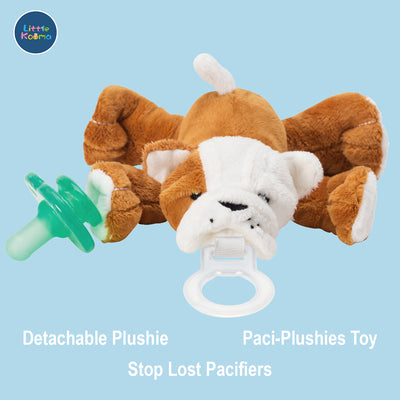 Nookums Paci-Plushies Shakies - Bull Dog Pacifier Holder - Plush Toy Includes Detachable Pacifier - Little Kooma