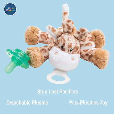 Nookums Paci-Plushies Buddies - Giraffe Pacifier Holder - Plush Toy Includes Detachable Pacifier - Little Kooma