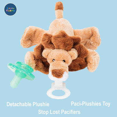 Nookums Paci-Plushies Buddies - Lion Pacifier Holder - Plush Toy Includes Detachable Pacifier - Little Kooma
