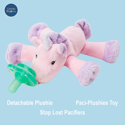 Nookums Paci-Plushies Shakies - Unicorn Pacifier Holder - Plush Toy Includes Detachable Pacifier - Little Kooma