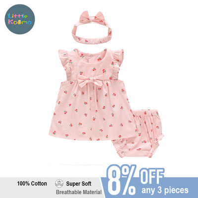 Baby Girl Cherry Dress n Knicker n Headwrap 3 Piece Set - Little Kooma