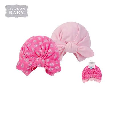 Hudson Baby 2Pc Turban Cap Hat Set 00552CH Pink Paisley - Little Kooma