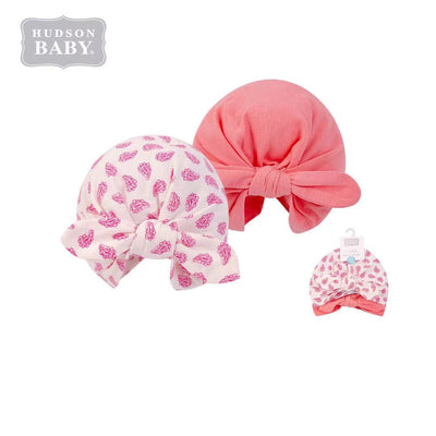 Hudson Baby 2Pc Turban Cap Hat Set 00556CH Coral Paisley - Little Kooma