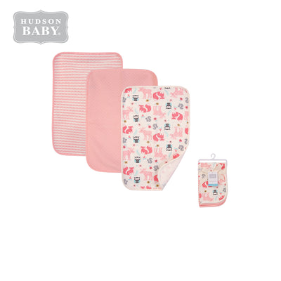 Hudson Baby 3Pc Quilted Burped Cloths 01053CH Girl Forest - Little Kooma