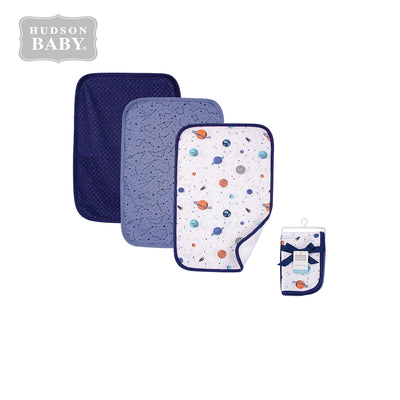 Hudson Baby 3Pc Quilted Burped Cloths 01038CH Space - Little Kooma