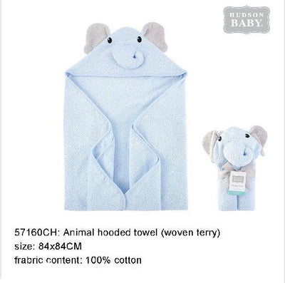 Hudson Baby Animal Woven Terry Hooded Bath Towel Swaddle Blue Elephant - 0512 - Little Kooma