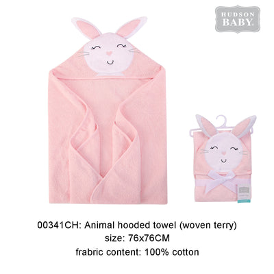Hudson Baby Animal Woven Terry Hooded Bath Towel Swaddle Pink Bunny- 0512 - Little Kooma