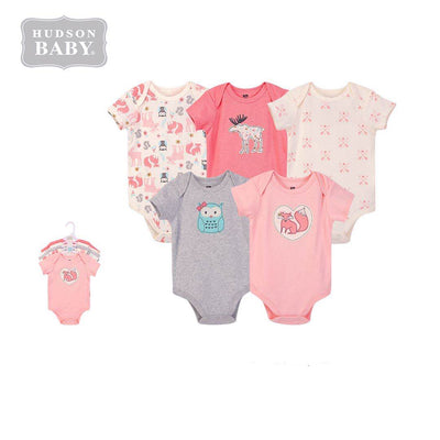 Hudson Baby Bodysuit 5pc Set Short Sleeve Forest Girl 59973 - Little Kooma