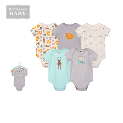 Hudson Baby Bodysuit 5pc Set Short Sleeve Forest Neutral 59979 - Little Kooma