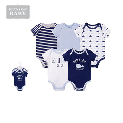 Hudson Baby Bodysuit 5pc Set Short Sleeve Whaley Handsome 57560 - Little Kooma