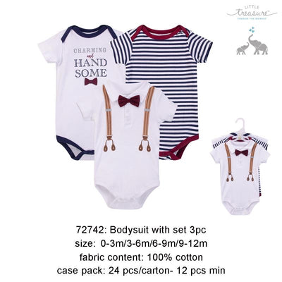 Hudson Baby Bodysuits 3 Piece Pack Charming & Handsome - 0512 - Little Kooma