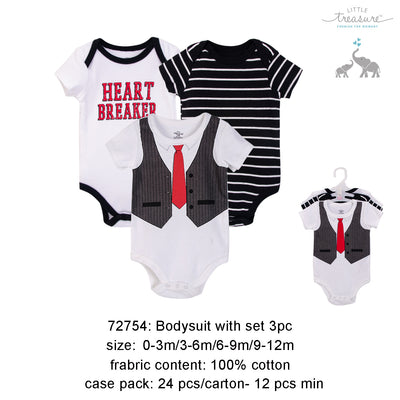Hudson Baby Bodysuits 3 Piece Pack Heart Breaker/Black - 0512 - Little Kooma