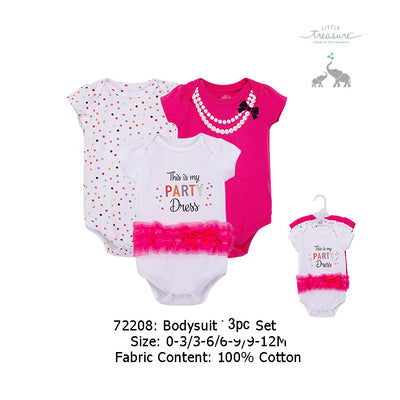 Hudson Baby Bodysuits 3 Piece Pack Party Dress 72208 - 0512 - Little Kooma