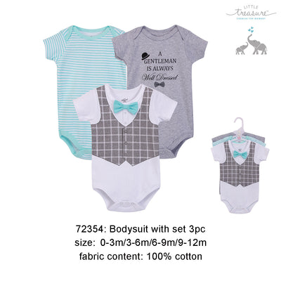 Hudson Baby Bodysuits 3 Piece Pack Well Dressed - 0512 - Little Kooma
