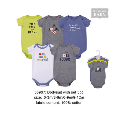 Hudson Baby Bodysuits 5 Piece Pack Food Boy - 0512 - Little Kooma