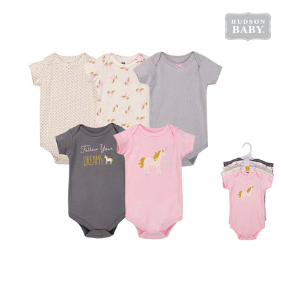 Hudson Baby Bodysuits 5 Piece Pack Gold Unicorn 58425 - 0729 - Little Kooma