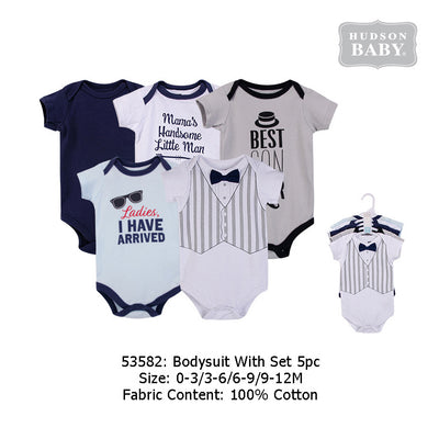 Hudson Baby Bodysuits 5 Piece Pack Handsome Little Man - 0512 - Little Kooma