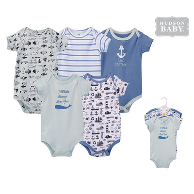 Hudson Baby Bodysuits 5 Piece Pack Nautical 53858- 0512 - Little Kooma