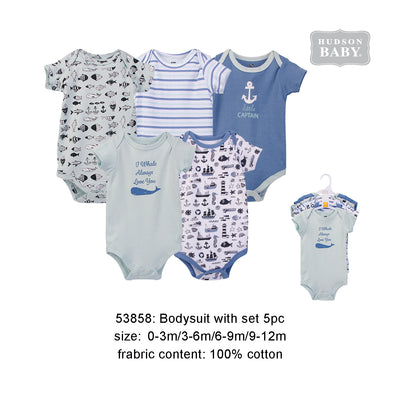 Hudson Baby Bodysuits 5 Piece Pack Nautical - 0512 - Little Kooma