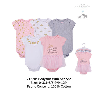 Hudson Baby Bodysuits 5 Piece Pack Princess Girl 71770 - 0512 - Little Kooma