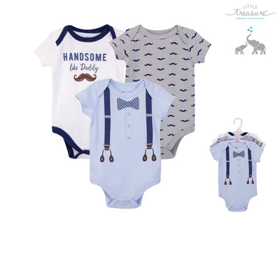 Hudson Baby Boy Bodysuit 3pc Set Short Sleeve Handsome Like Daddy 72724 - Little Kooma