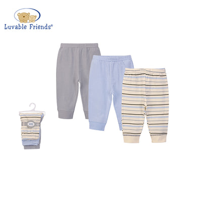 Luvable Friends Baby Boys Pants 3 Pairs Pack 56962 - Little Kooma