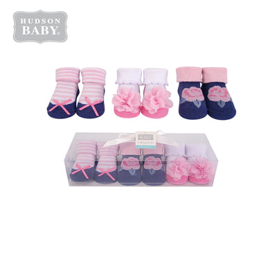 Hudson Baby Girl Newborn Baby 3 Pairs Socks Set 58296 - Little Kooma