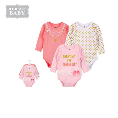 Hudson Baby Girl Sparkling Bodysuit 3pc Set Long Sleeve 00605CH - Little Kooma