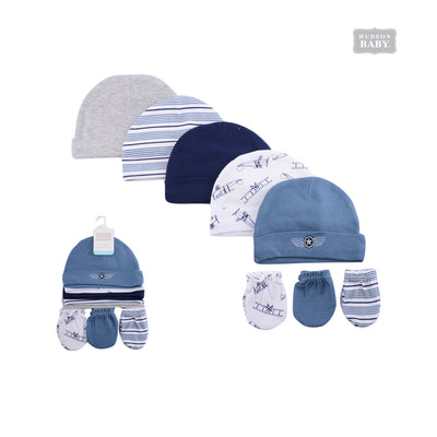 Hudson Baby Hats n Scratch Mittens 8 Pcs Set Aviation 51480 - 1102 - Little Kooma