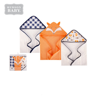 Hudson Baby Knit Terry Hooded Towel Set 3 Piece 57897 Fox - Little Kooma
