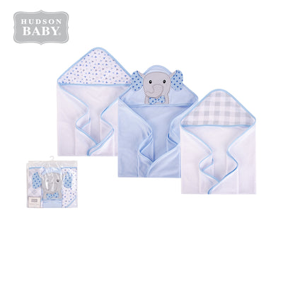 Hudson Baby Knit Terry Hooded Towel Set 3 Piece 57987 Blue Dots/Gray Elephant - Little Kooma