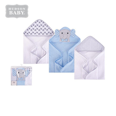 Hudson Baby Knit Terry Hooded Towel Set 3 Piece 57989 Blue Elephant - Little Kooma