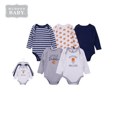 Hudson Baby Long Sleeve Bodysuits 5 Piece Pack Basketball 58621 - 1102 - Little Kooma