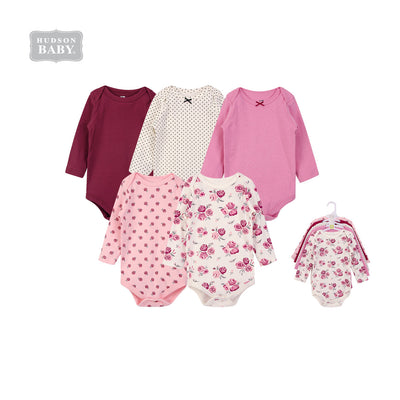 Hudson Baby Long Sleeve Bodysuits 5 Piece Pack Rose 55615 - 1102 - Little Kooma