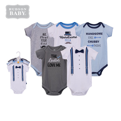 Hudson Baby Short Sleeve Bodysuits 5 Piece Pack Handsome Fella 53554 - 1102 - Little Kooma