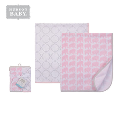 Hudson Baby Swaddle Blanket 2 Piece Pack 51435 Pink Elephant - 0801 - Little Kooma