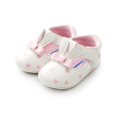 Baby Girl Anti-slip PU Leather Bunny Shoes Magic Tape - 0912 - Little Kooma