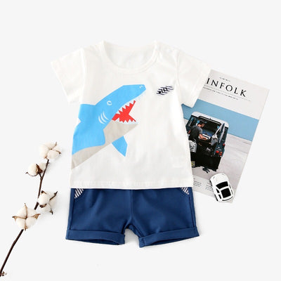 Baby White Top w Shark n Blue Shorts Set  - 0902 - Little Kooma