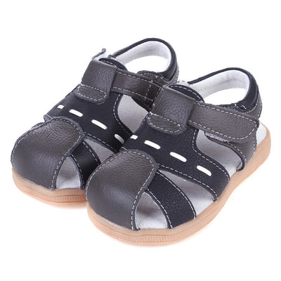 Boy's Leather Sandals Shoes Dark Grey n Black Magic Tape - SQF4 - Little Kooma