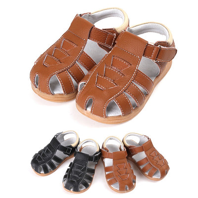 Boy's Leather Sandals Shoes Magic Tape - SQ1112 - Little Kooma