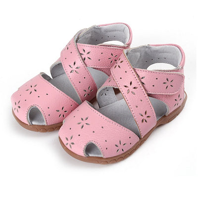 Girl's Leather Sandals Cross Shoes  - SQ1117 - Little Kooma