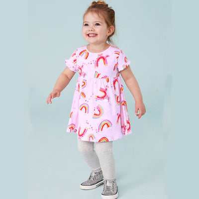 Kids Baby Girl's Purple Short Sleeve Rainbow Dress - 1021 - Little Kooma