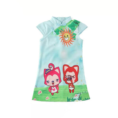 Kids Girl Cheongsam Dress Light Green w Foxes - Little Kooma