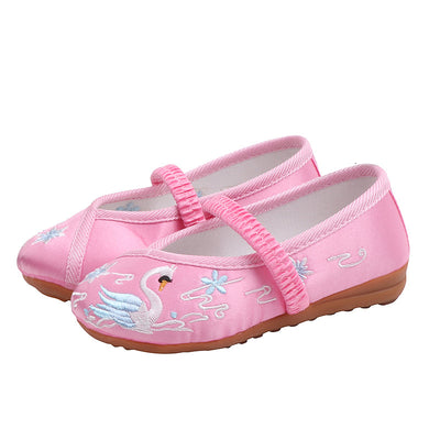 CNY Kids Girl Pink Anti-slip Textile Flats Embroidered Swan 069 - Little Kooma