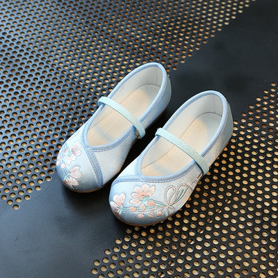 CNY Kids Girl Blue Anti-slip Textile Flats Embroidered Flowers 034 - Little Kooma