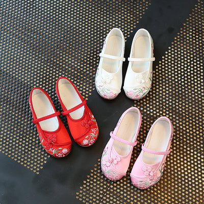 CNY Kids Girl Anti-slip Textile Flats Embroidered Flowers 033 - Little Kooma